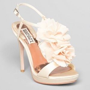 badgley mischka satin ruffle wedding Sandals